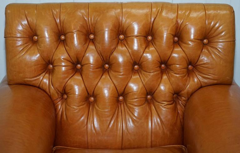 Contemporary Ralph Lauren Armchair Aged Tan Brown Vintage Distressed Leather Very Rare Find For Sale