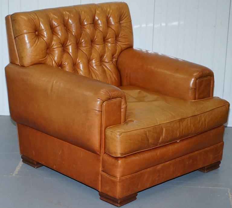 Ralph Lauren Armchair Aged Tan Brown Vintage Distressed Leather Very Rare Find For Sale 1