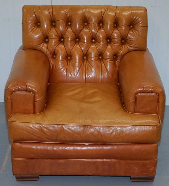 Ralph Lauren Armchair Aged Tan Brown Vintage Distressed Leather Very Rare Find For Sale 2