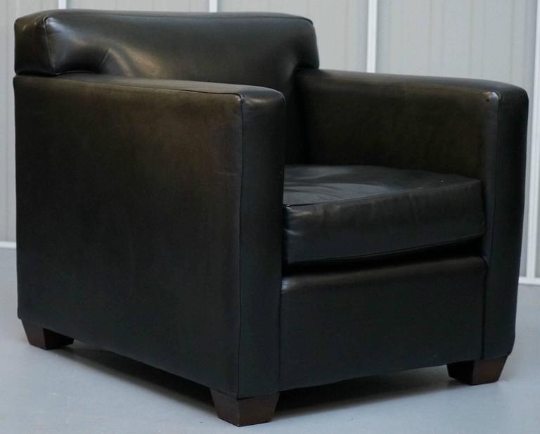 Ralph Lauren Granham Black Italian Leather Armchair And