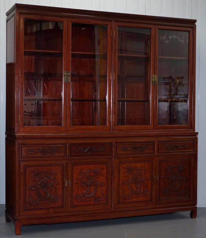 Contemporary Rare Chinese Dragon Carved Solid Rosewood Vintage Welsh Dresser Bookcase Cabinet For