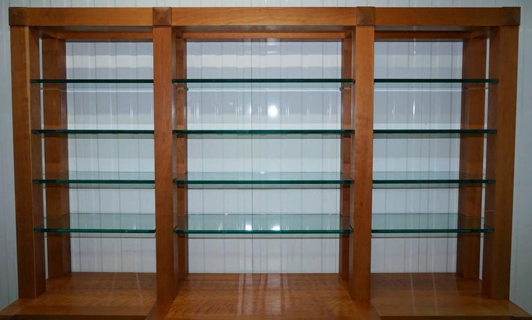 Great Britain (UK) Custom-Made One-Off Solid Cherrywood and Tempered Glass Bookcase Cabinet For Sale