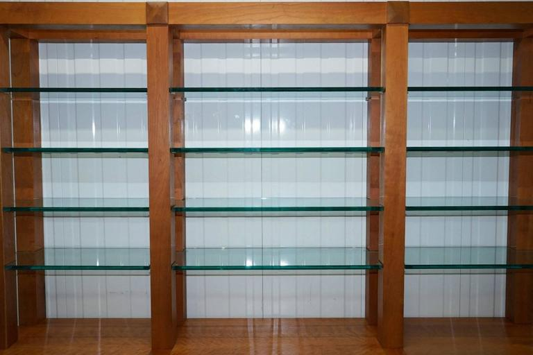 Custom-Made One-Off Solid Cherrywood and Tempered Glass Bookcase Cabinet In Good Condition For Sale In London, GB