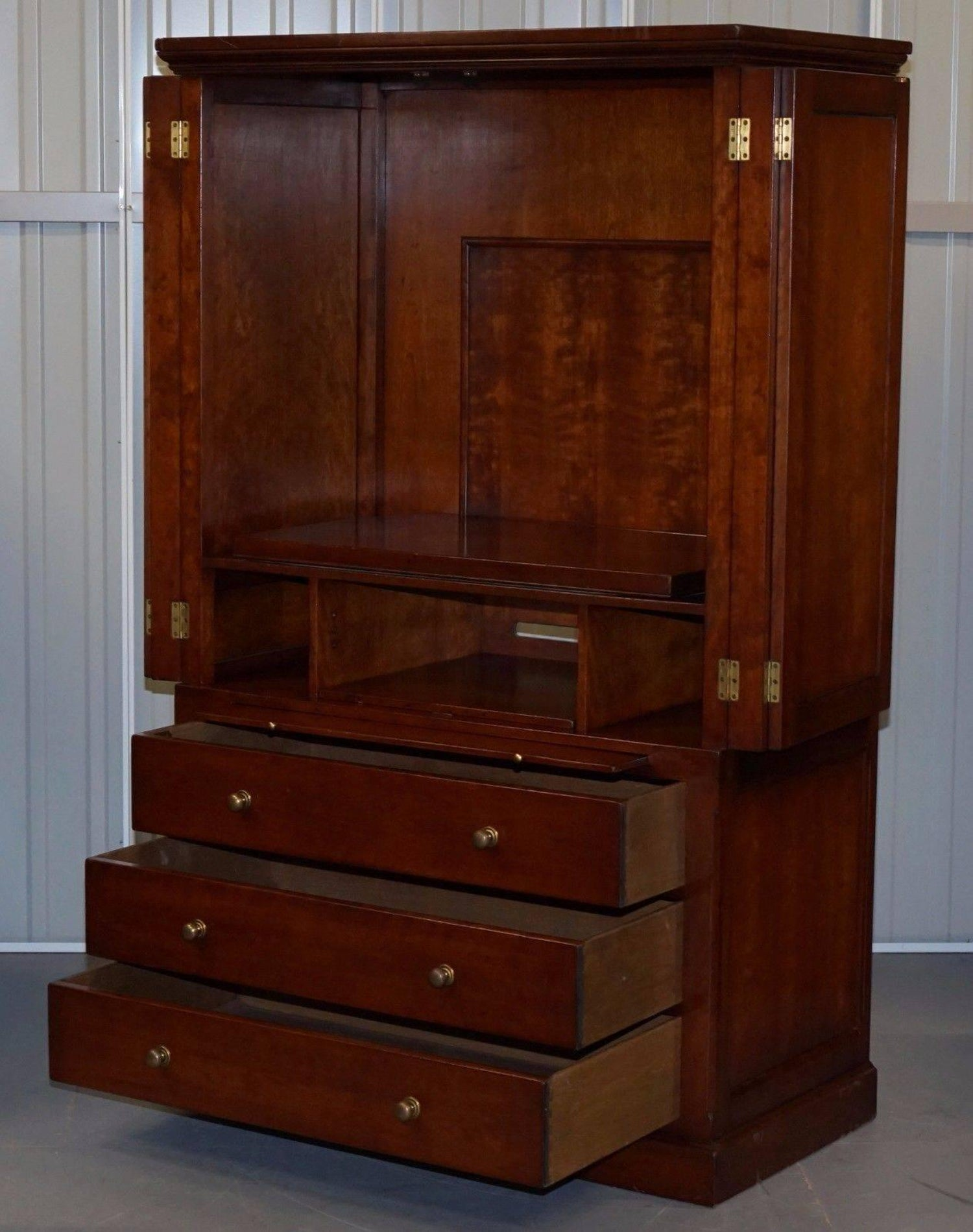 Harrods london kennedy mahogany campaign furniture media entertainment cabinet for sale at 1stdibs