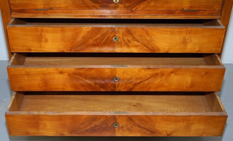 Hand-Crafted Rare 1840 German Biedermeier Cherrywood Chest of Drawers Commode Marble Inside For Sale