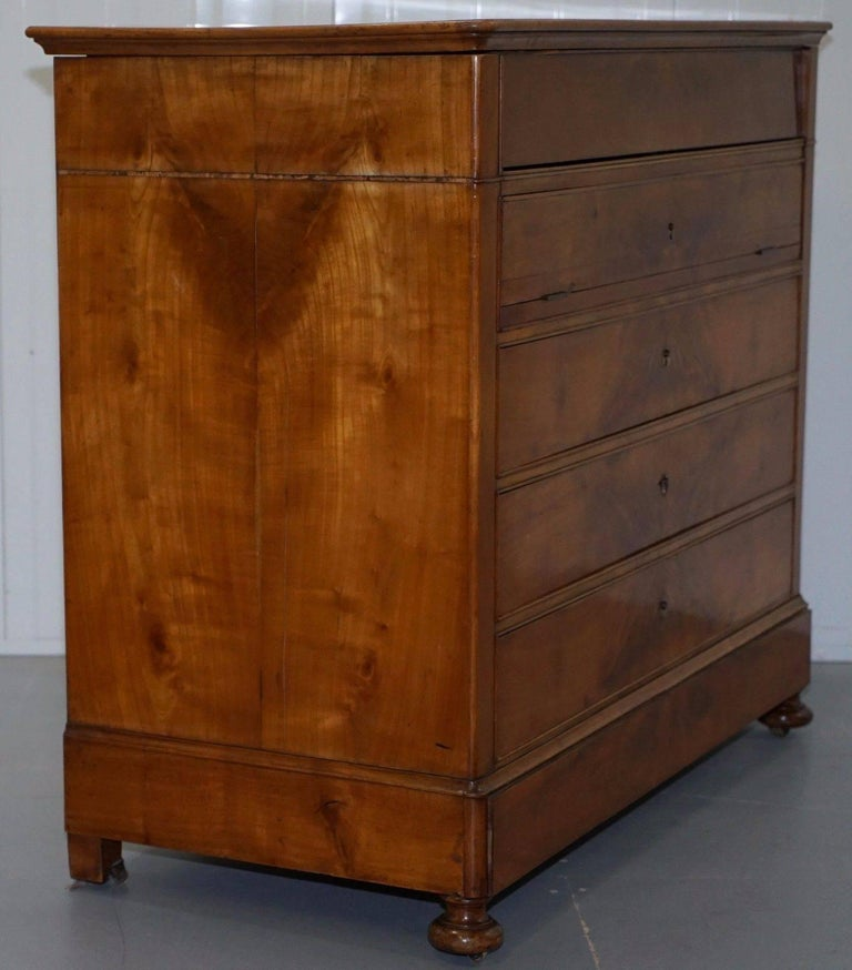 Rare 1840 German Biedermeier Cherrywood Chest of Drawers Commode Marble Inside For Sale 1
