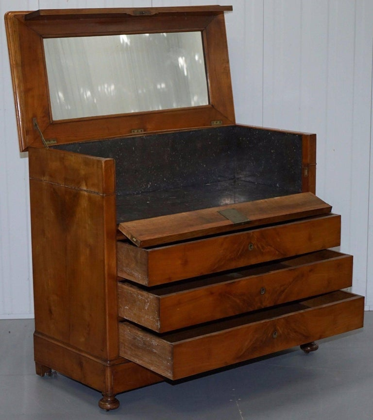 Rare 1840 German Biedermeier Cherrywood Chest of Drawers Commode Marble Inside For Sale 3