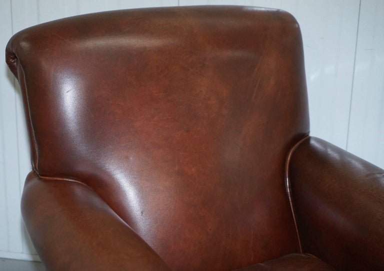 Rrp 5800 custom made george smith club armchair aged for Brown leather couch with studs