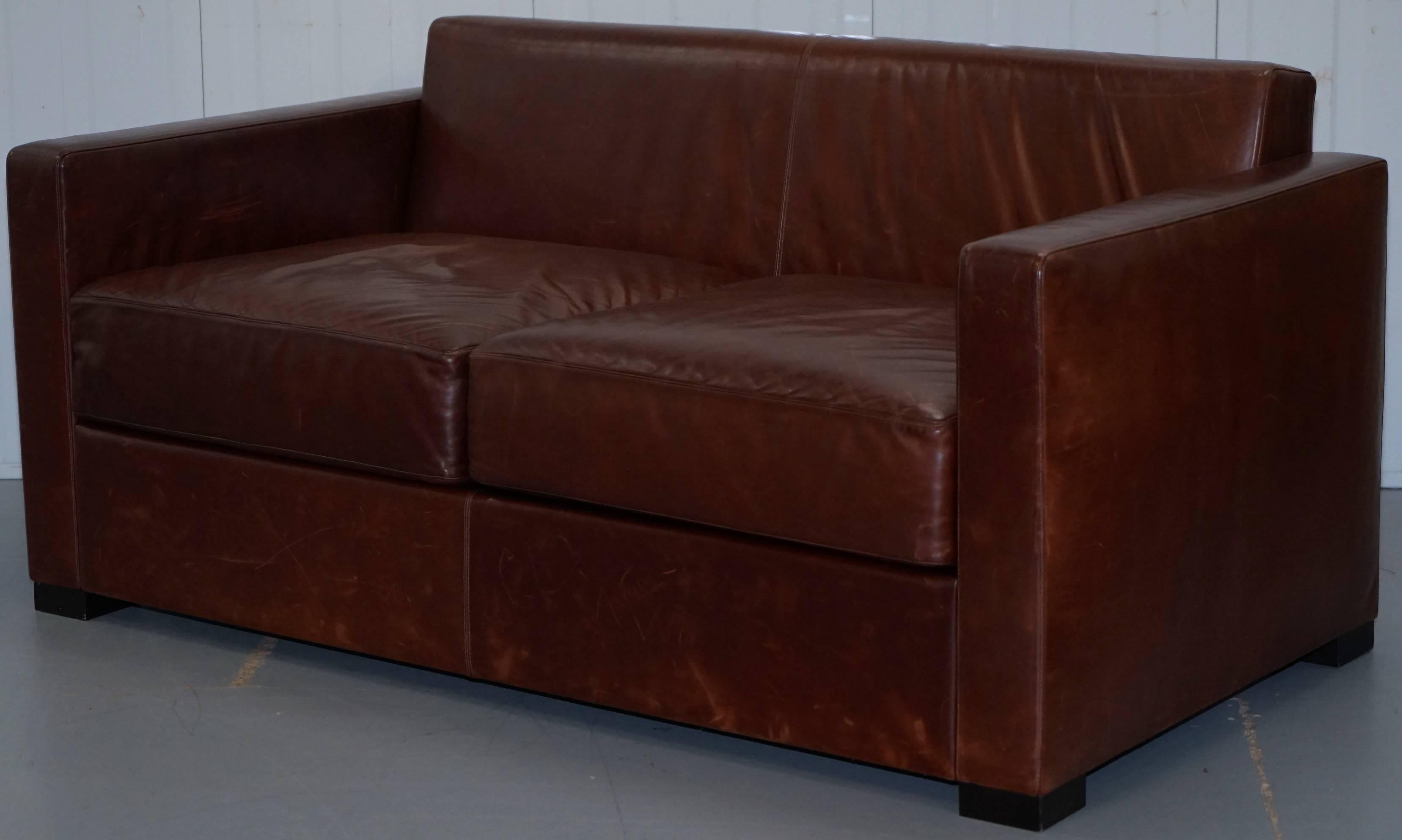Poltrona Frau Linea A Two Seat Sofa By Peter Marino Brown Heritage Leather  In Distressed