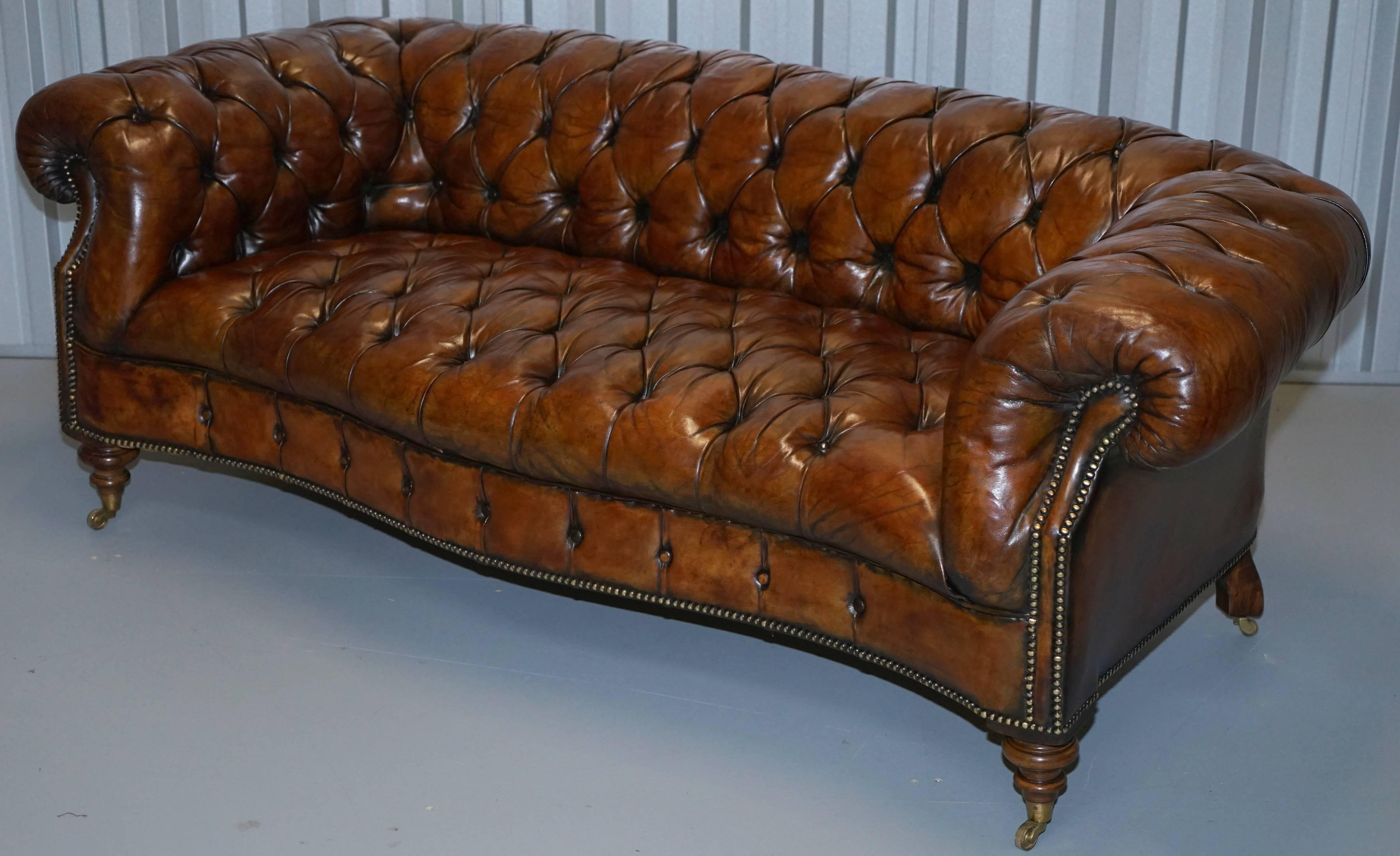 Great Britain (UK) Pair Of Fully Restored Howard U0026 Sonu0027s Style Victorian Chesterfield  Leather
