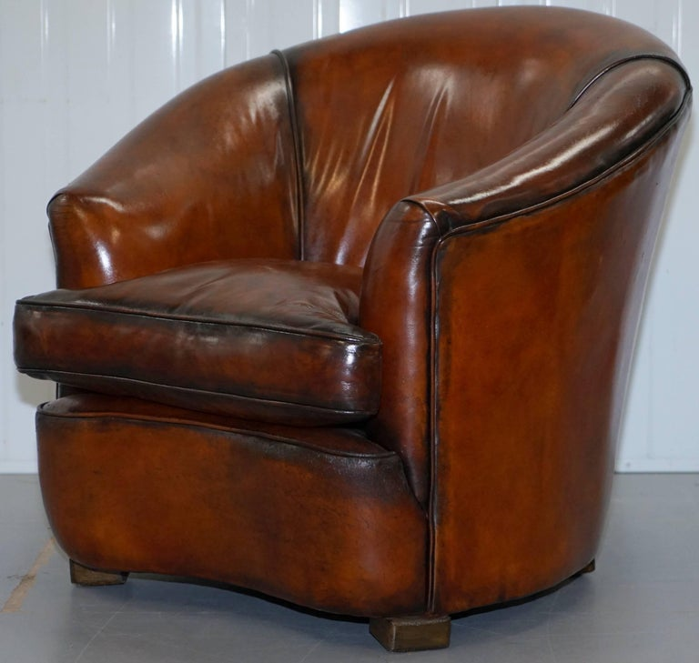 Fully restored brown leather five piece club tub suite for Eurodesign brown leather 5 piece sectional sofa set