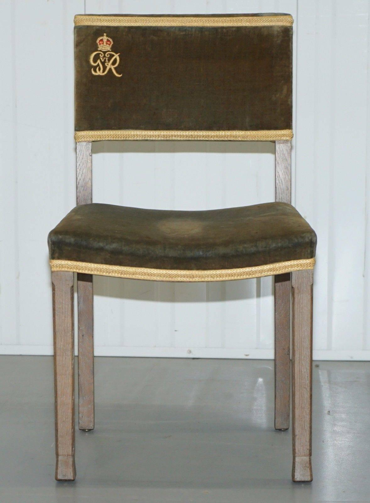 British Exceptional 1937 King George VI Coronation Chair And Stool Fully  Stamped For Sale