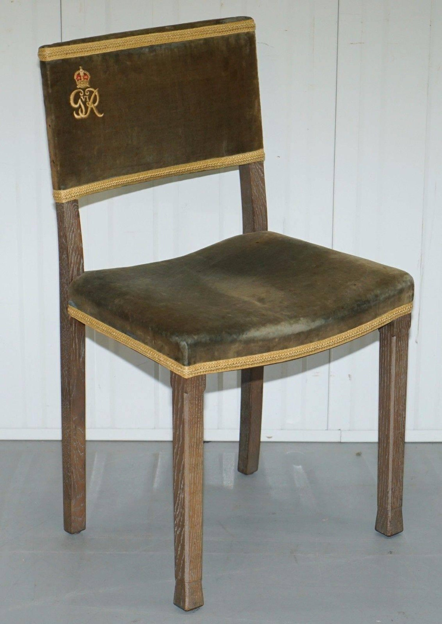 Exceptional 1937 King George VI Coronation Chair and Stool Fully