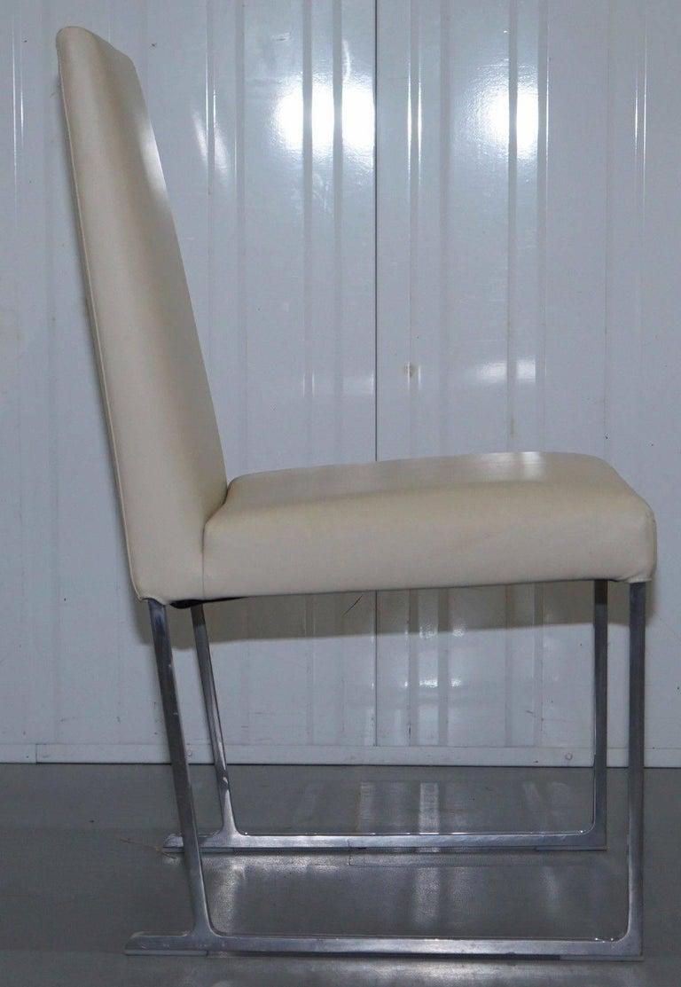 Italian Four Antonio Citterio B&B Italia S47 Solo Dining Chairs Cream Leather For Sale