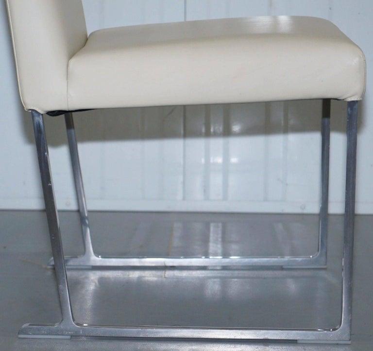 Contemporary Four Antonio Citterio B&B Italia S47 Solo Dining Chairs Cream Leather For Sale