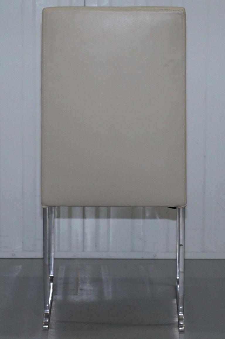 Four Antonio Citterio B&B Italia S47 Solo Dining Chairs Cream Leather In Good Condition For Sale In London, GB