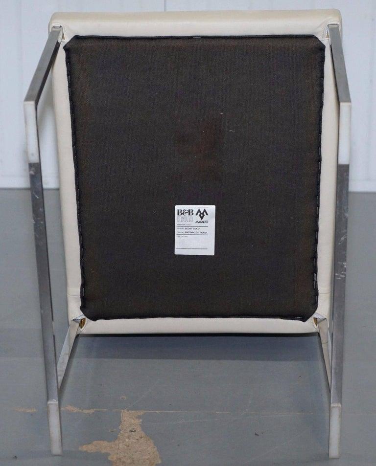 Four Antonio Citterio B&B Italia S47 Solo Dining Chairs Cream Leather For Sale 1