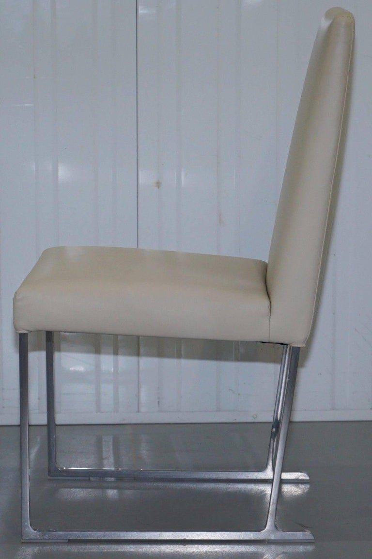 Hand-Crafted Four Antonio Citterio B&B Italia S47 Solo Dining Chairs Cream Leather For Sale