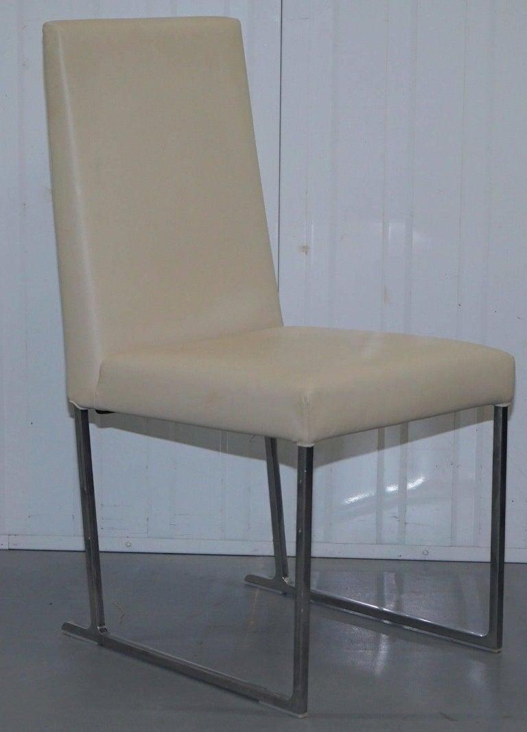 Modern Four Antonio Citterio B&B Italia S47 Solo Dining Chairs Cream Leather For Sale