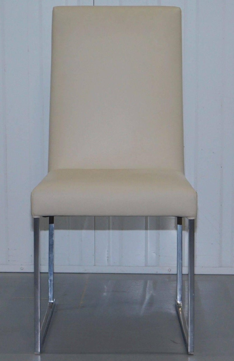 Wimbledon-Furniture  We are delighted to offer for sale this lovely set of four B&B Italia S42 Solo dining chairs finished cream Kotto grade leather RRP £5060  Manufacturer: B&B Italia  Designer: Antonio Citterio   The innovative visual