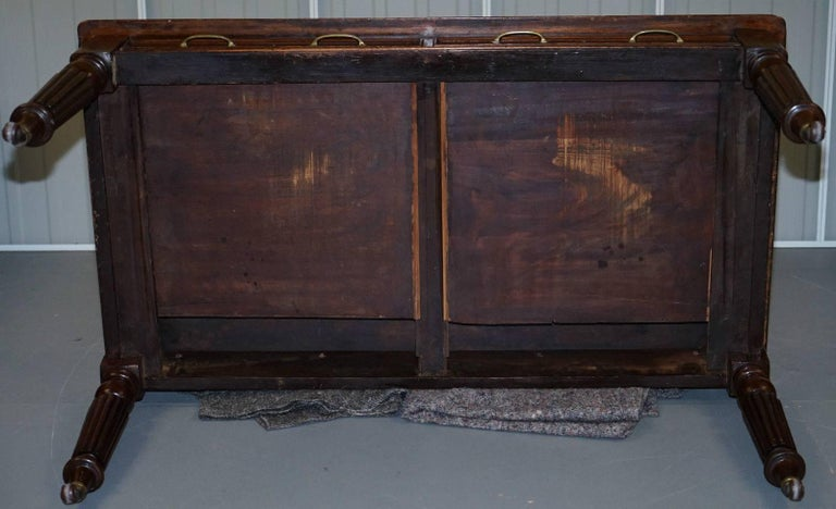 Victorian Walnut Gillows Reeded Legs Leather Partner Desk For Sale 3