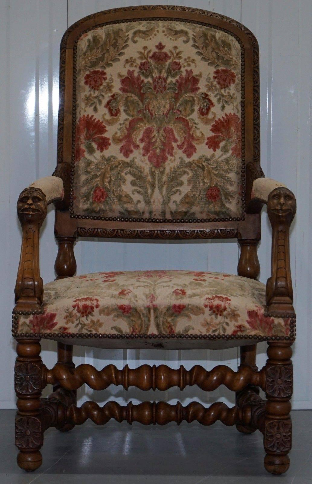 Victorian Pair Of Walnut Framed Lion Head Carved Throne High Back  Armchairs, Circa 1870 For