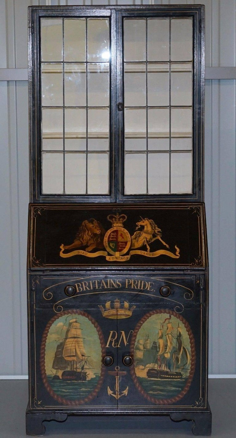 Museum quality victorian hand painted royal navy chatham for Bureau for sale near me