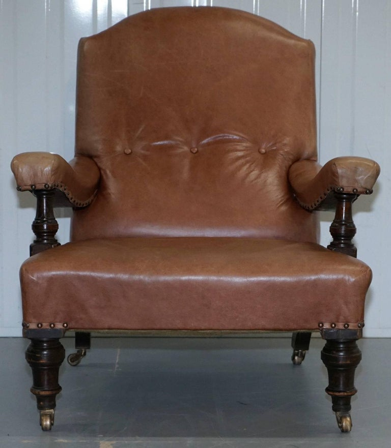 British Fully Restored Edwardian Aged Brown Leather Library Reading Armchair, circa 1900 For Sale