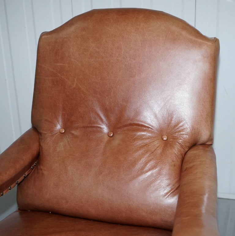 Hand-Carved Fully Restored Edwardian Aged Brown Leather Library Reading Armchair, circa 1900 For Sale