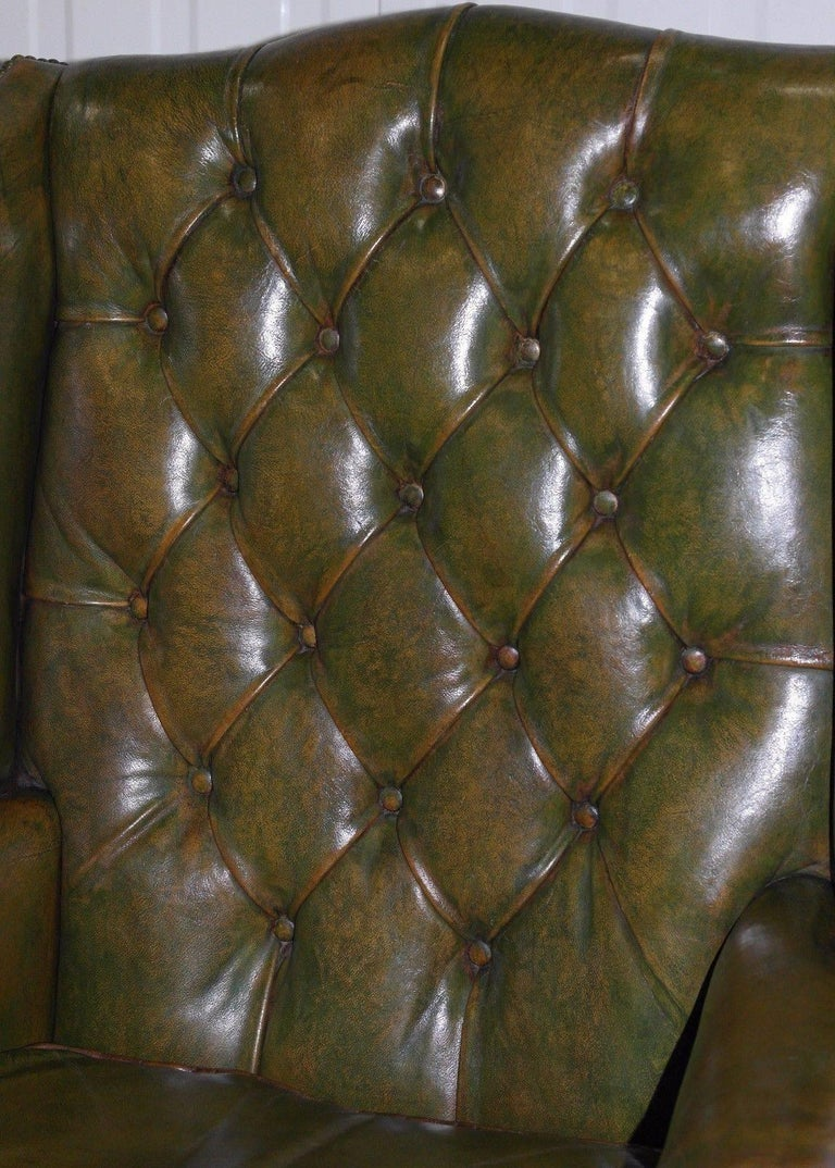 Georgian Chesterfield Aged Green Leather Wingback Fireside Armchair, George III For Sale 3