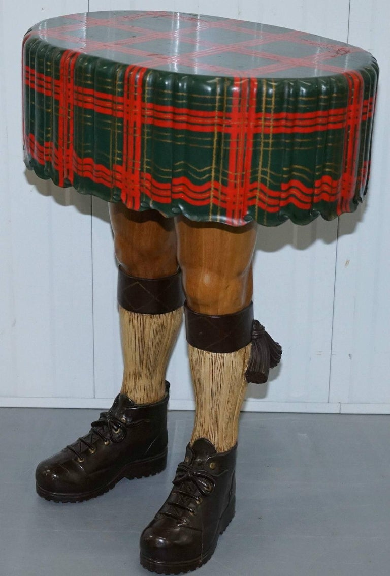 Very Rare And Desirable Scottish Kilt Table Hand Carved