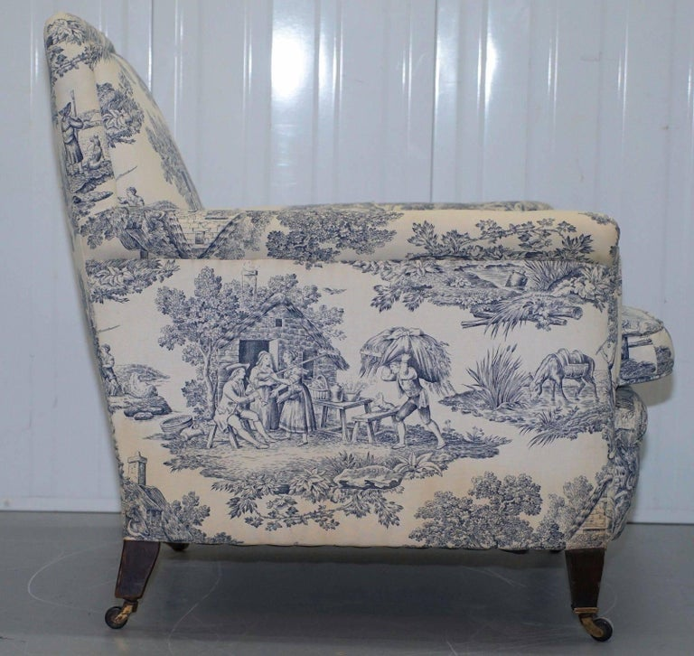 Original WG 1738 Stamped French Club Armchair Inc Toile de Jouy Style Upholstery For Sale 1