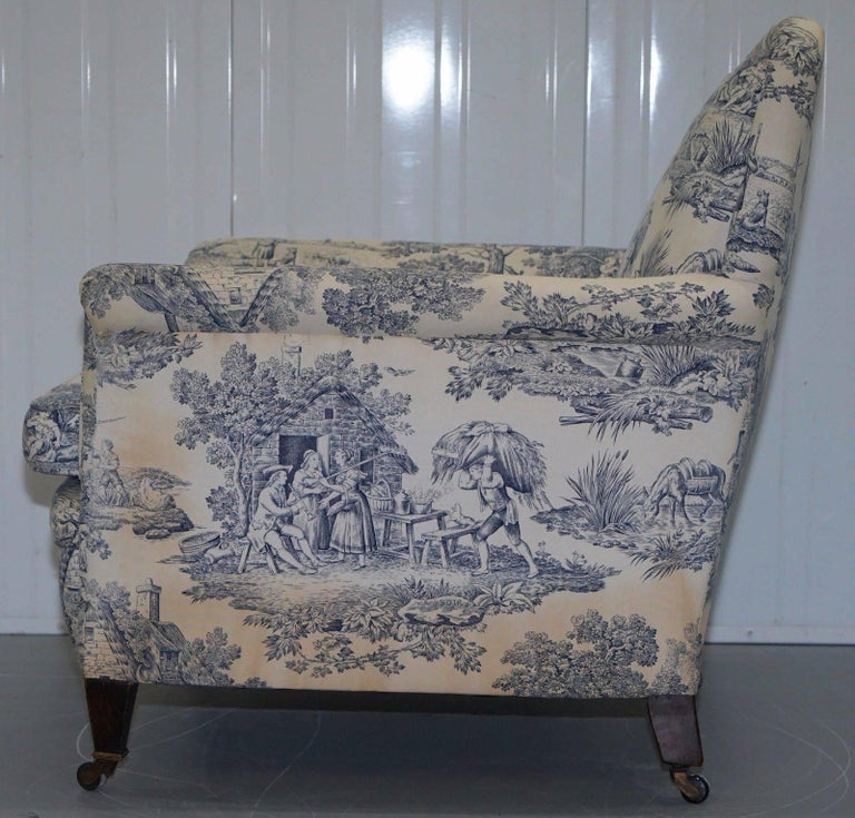Original WG 1738 Stamped French Club Armchair Inc Toile de Jouy Style Upholstery For Sale 3
