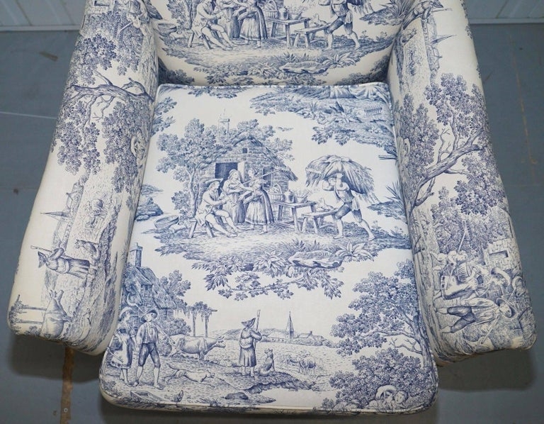 18th Century and Earlier Original WG 1738 Stamped French Club Armchair Inc Toile de Jouy Style Upholstery For Sale