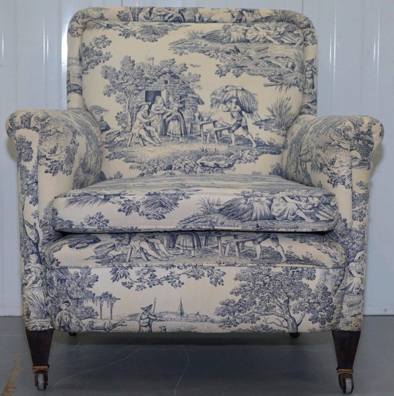 Lovely original WG 1738 stamped French club armchair with early Toile De Jouy upholstery  Please note the delivery fee listed is just a guide, for an accurate quote please send me your postcode and I'll price it up for you  As mentioned the frame is