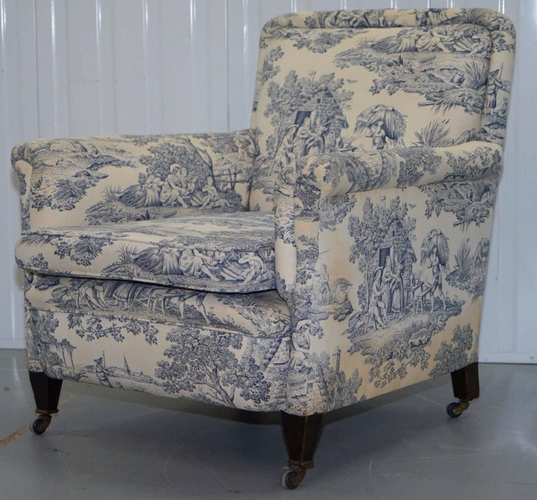 French Provincial Original WG 1738 Stamped French Club Armchair Inc Toile de Jouy Style Upholstery For Sale