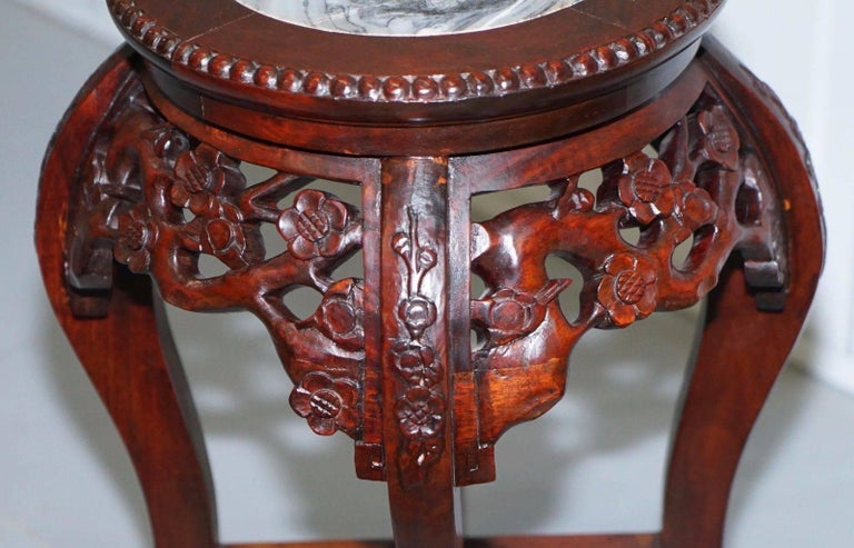 Chinese, circa 1920 Hongmu Floral Tree Carved Jardinière Plant Pot Stand In Good Condition For Sale In London, GB