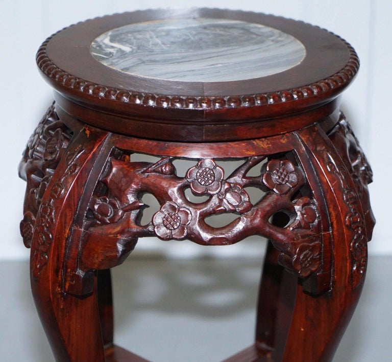 Early 20th Century Chinese, circa 1920 Hongmu Floral Tree Carved Jardinière Plant Pot Stand For Sale