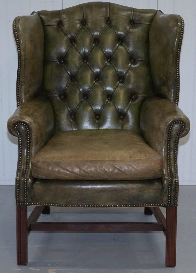 original hand dyed 1960s green leather chesterfield. Black Bedroom Furniture Sets. Home Design Ideas