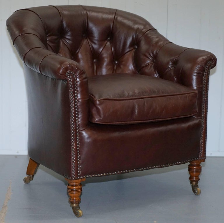 Rare pair of original Howard & Sons fully stamped with original castors Victorian fully restored brown leather club tub armchairs  Please note the delivery fee listed is just a guide, for an accurate quote please send me your postcode and I'll price