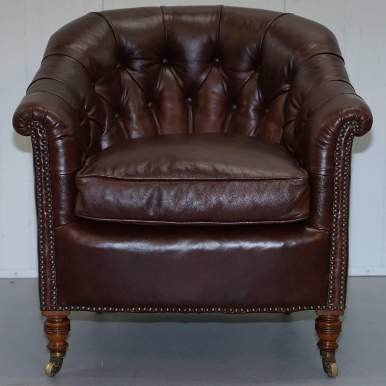 Victorian Pair of Fully Restored Howard & Sons Brown Leather Fully Stamped Club Armchairs For Sale