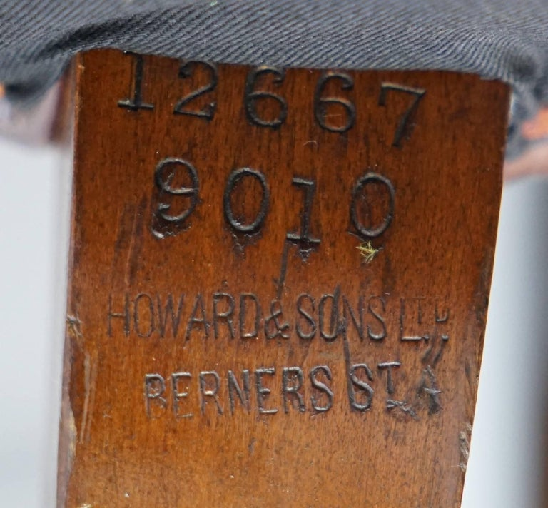 19th Century Pair of Fully Restored Howard & Sons Brown Leather Fully Stamped Club Armchairs For Sale