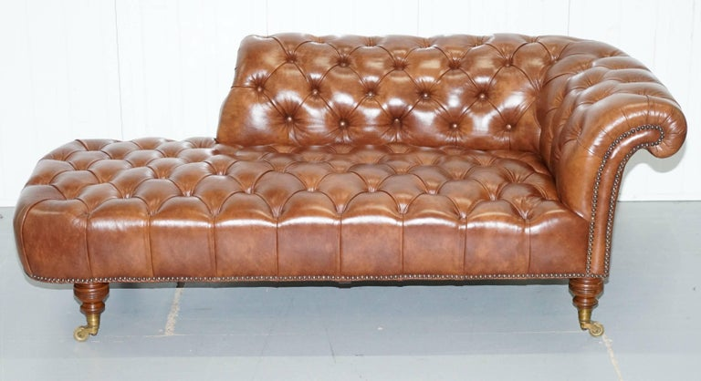 howard and sons chesterfield chesterbed brown leather fully stamped chaise longue for sale at. Black Bedroom Furniture Sets. Home Design Ideas