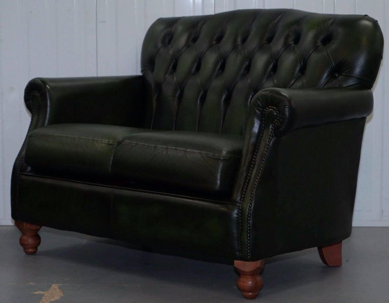 Pair Of Green Leather Chesterfield Two Seat Sofas Thomas