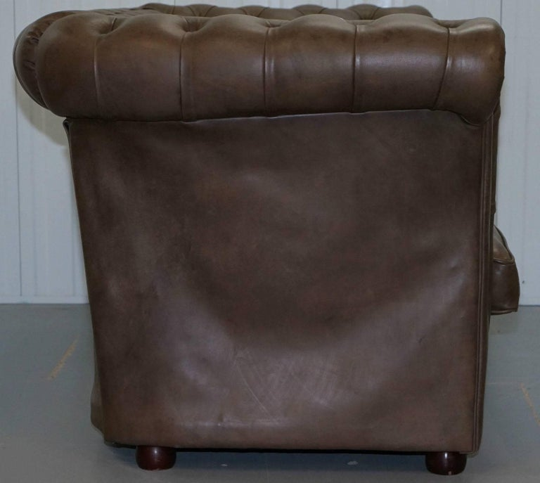 Rare Handmade Chesterfield Very Tall Club Sofa Luxury Leather For Sale at 1stdibs