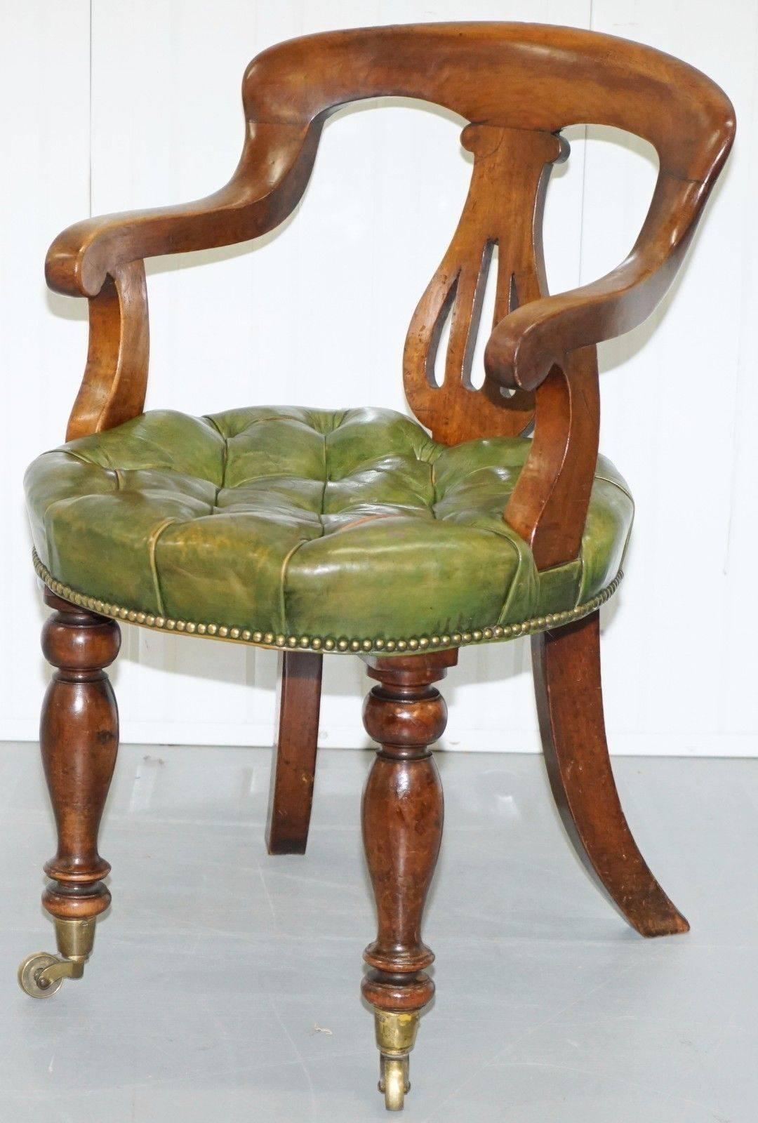 Late Victorian Rare Victorian Mahogany Framed Chesterfield Green Leather  Desk Chair Hand Dyed For Sale
