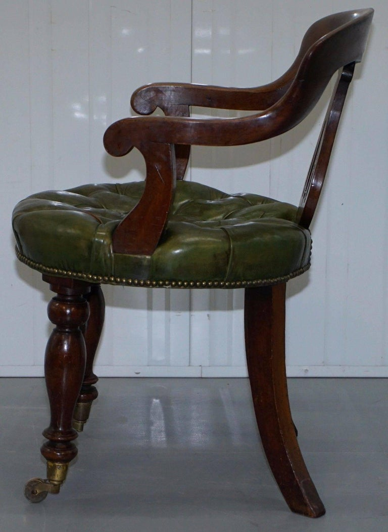 Rare Victorian Gany Framed Chesterfield Green Leather Desk Chair Hand Dyed For 3