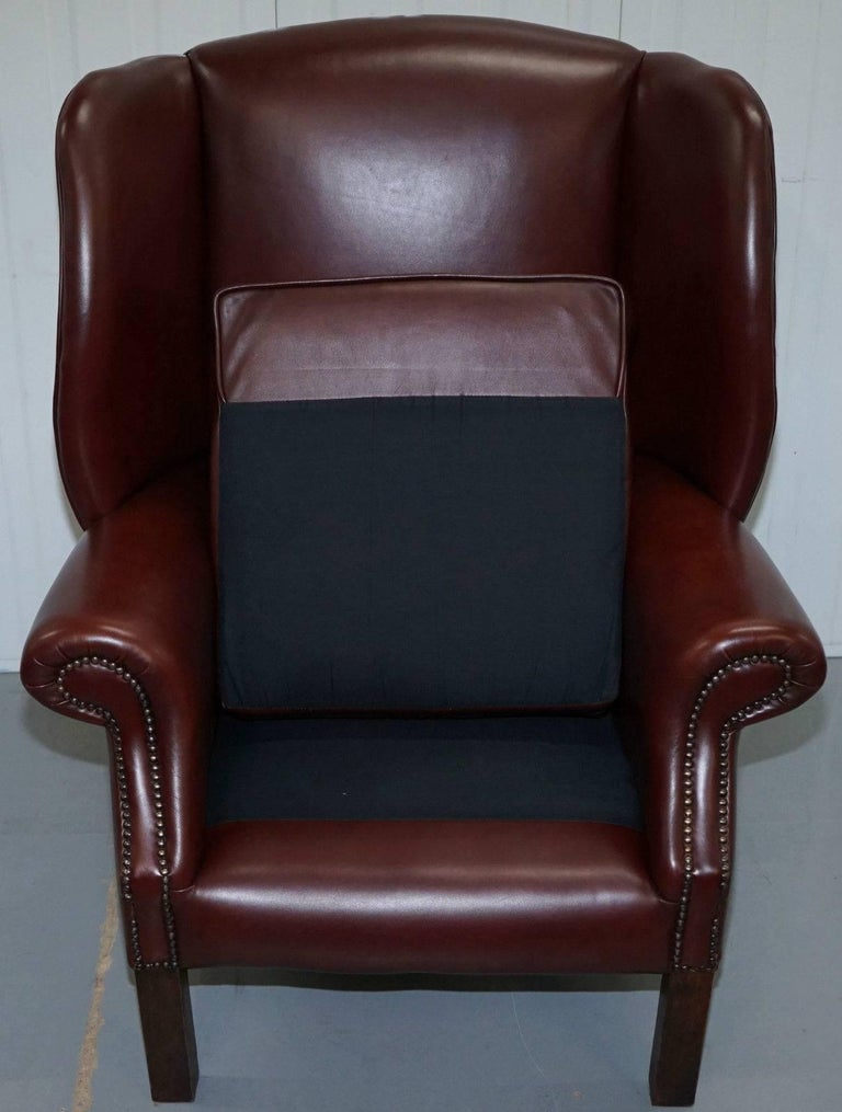 Lovely Aged Oxblood Brown Red Height Straight Wingback