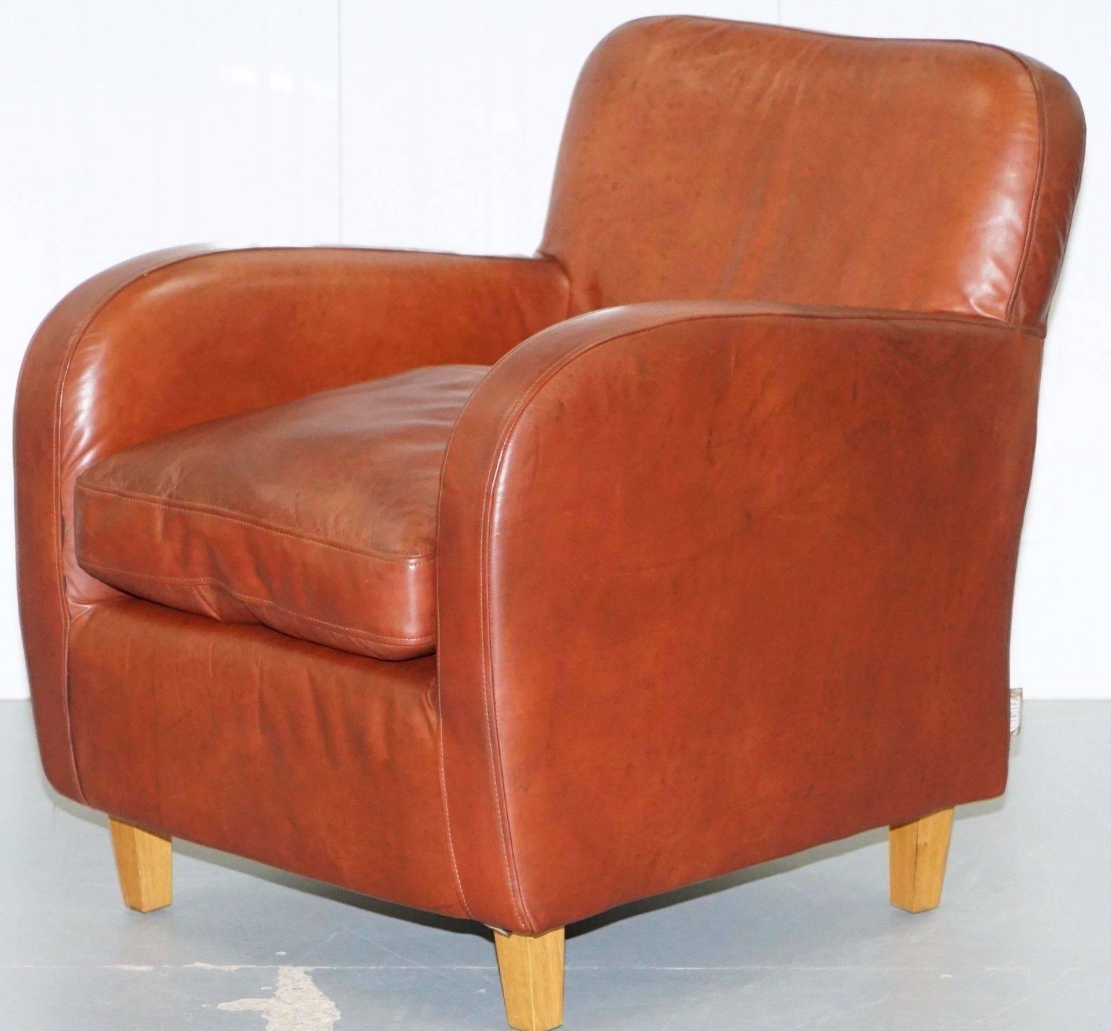 Modern Habitat Havana Aged Brown Leather Club Armchair Feather Filled  Cushion For Sale