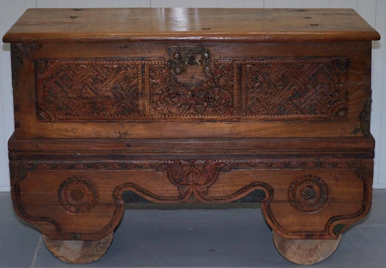 Stunning Large Indian Carved Wood Travelling Trunk Chest